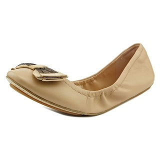 Cole Haan Avery Tulle Bow Ballet Women Round Toe Leather Nude Ballet Flats