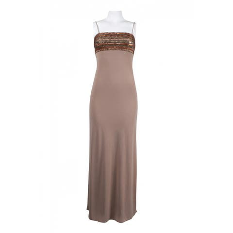 JS Collections Sequin Bodice Chiffon Dress, Brown, 6
