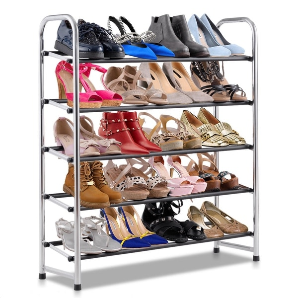 2c2deb6c455 Costway 5-Tier Mobile Shoe Rack Tower Storage Shelf Holder Organizer Home  Furniture - as