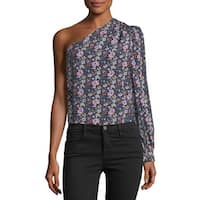 Frame Purple Women's Size Small S One-Shoulder Floral Blouse