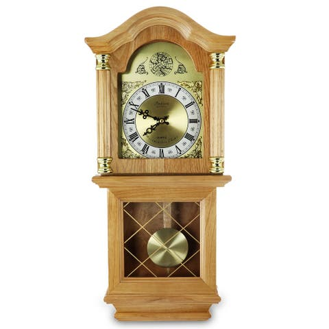 "Bedford Clock Collection Classic 26"" Deco Wall Clock with Pendulum"