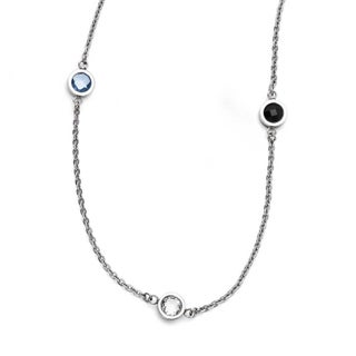 Chisel Stainless Steel Polished CZ Necklace (2 mm) - 36.5 in