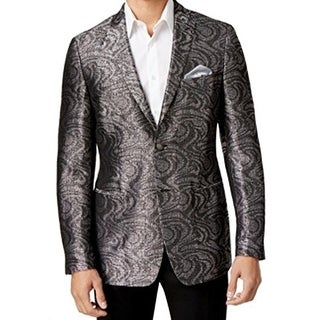 Tallia NEW Silver Mens Size 38 Paisley Printed Two Button Blazer