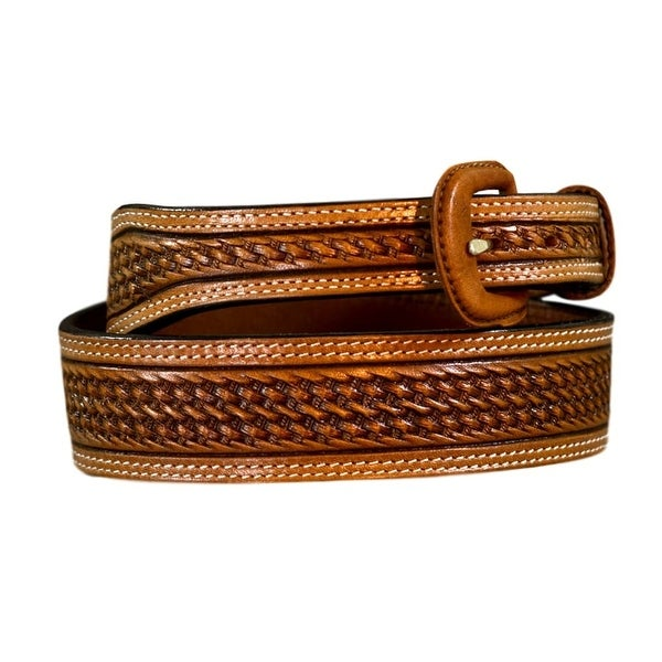 Vogt Silversmiths Western Belts Mens Basket Weave Russet