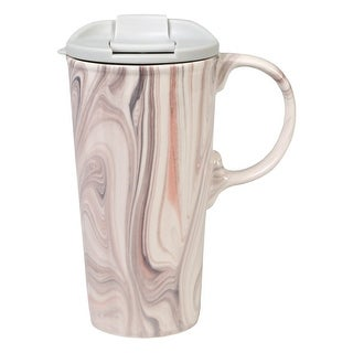 Marbled Ceramic Travel Latte Mugs - Large 17 Ounce Cup