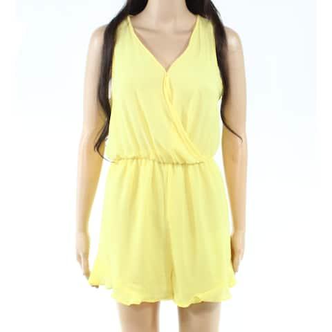 Lush Womens Romper Sun Yellow Size XS Surplice V-Neck Ruffled-Trim