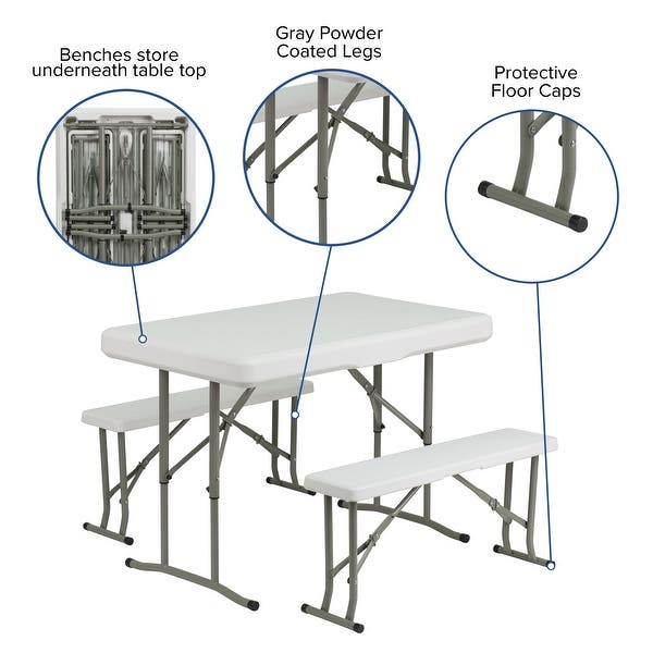 3 Piece Portable Plastic Folding Bench And Table Set On Sale Overstock 10629928