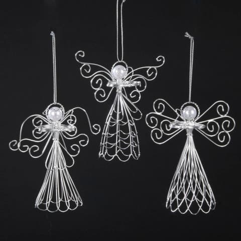 Club Pack of 12 Seasons of Elegance Wire and Pearl Angel Christmas Ornaments 5""