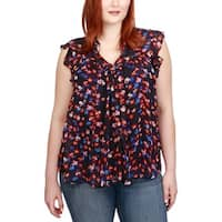 Lucky Brand Womens Plus Blouse Floral Print Ruffled