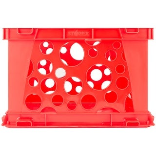 """Premium Classroom File Crate W/Handles 17.25""""X14.25""""X10.5""""-Red"""