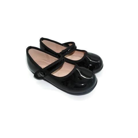 Pipiolo Girls Black Patent Strap Mary Jane Ballerina Flats