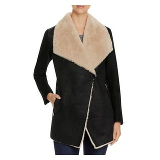 Calvin Klein Womens Double Face Coat Fall Faux Suede