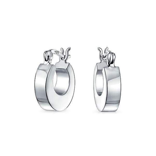 e2d10a18f Simple Basic Small Huggie Hoop Flat Shiny 925 Sterling Silver Earrings For  Men For Women