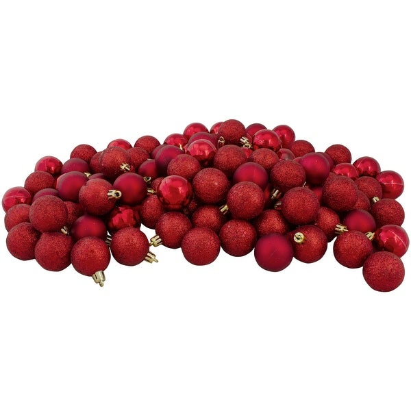 """96ct Red Shatterproof 4-Finish Christmas Ball Ornaments 1.5"""" (35mm). Opens flyout."""