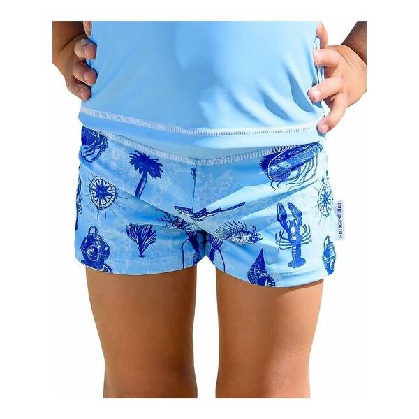 Sun Emporium Baby Boys Aqua Blue Voyager Print Euroleg Shorts