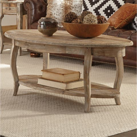 """Alaterre Rustic 48"""" Reclaimed Wood Oval Coffee Table"""