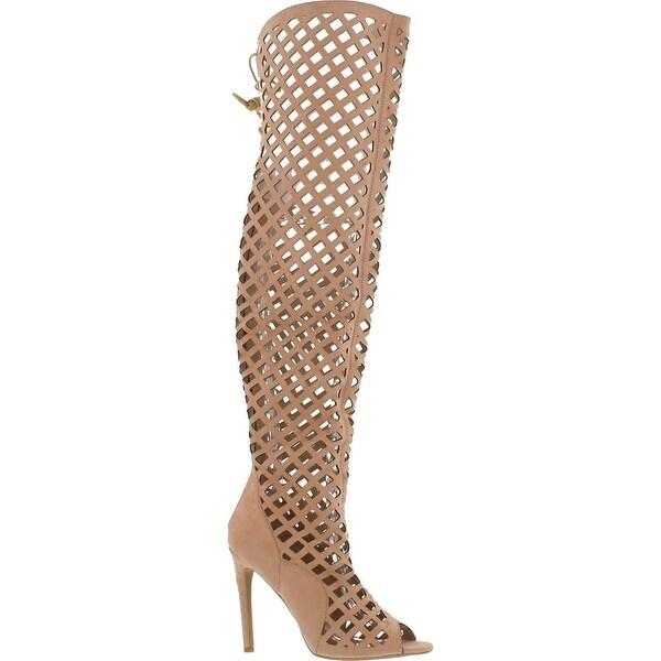 Cr Elnora Gladiator Open Toe Lace Back Full Zipper Thigh High Stiletto Heel Boot Nude