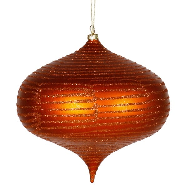 "Orange Matte Glitter Stripes Shatterproof Christmas Onion Ornament 6.3"" (160mm)"