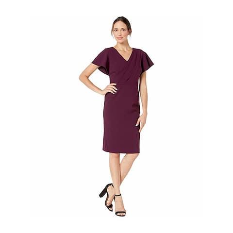 RALPH LAUREN Purple Short Sleeve Above The Knee Sheath Dress Size 4