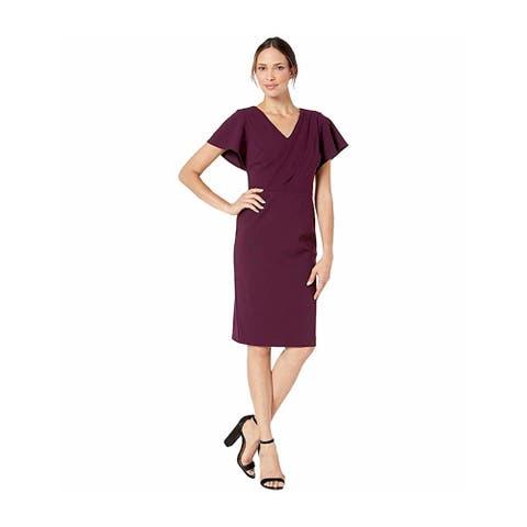 RALPH LAUREN Purple Short Sleeve Above The Knee Sheath Dress Size 6