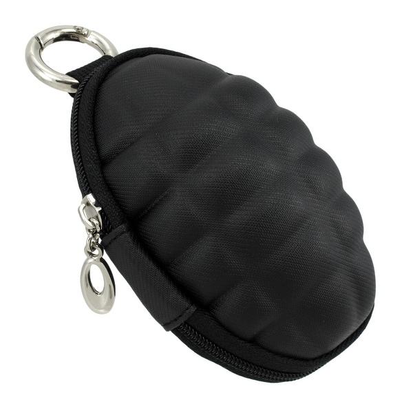 Shop Black Vinyl Grenade Coin Purse Keychain With Round Carabiner
