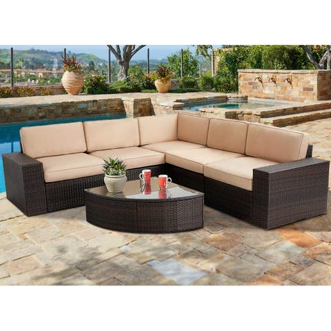 Suncrown Outdoor 6-piece Brown Rattan Sectional Sofa Set with Table