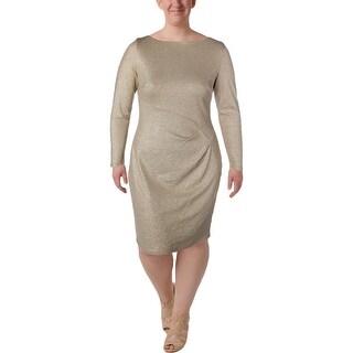 Lauren Ralph Lauren Womens Selene Evening Dress Metallic Knee-Length
