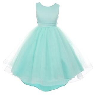 35abd4cbf Shop RainKids Little Girls Aqua Pearl Hi-Low Satin Tulle Flower Girl Dress  - Free Shipping Today - Overstock - 18181348