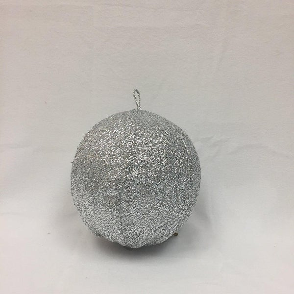 """8"""" Sparkly Silver Inflatable Tinsel Ball Commercial Christmas Ornament"""