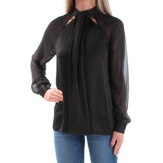 Womens Black Cuffed Turtle Neck Wear To Work Blouse Top Size 2XS
