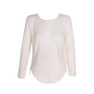 Inc International Concepts Ivory Gold Curved Waffle-Knit Zip-Detail Sweater S