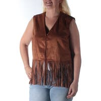 Womens Brown Sleeveless Open Vest Top  Size  L