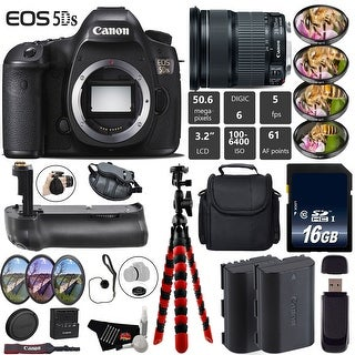 Canon EOS 5DS DSLR Camera With 24-105mm IS STM Lens + Professional Battery Grip + Extra Battery + Tripod Bundle - Intl Model