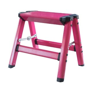Offex Lightweight Single Step Aluminum Step Stool Neon Pink