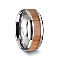 Brunswick Tungsten Wedding Ring With Polished Bevels And Black Cherry Wood Inlay