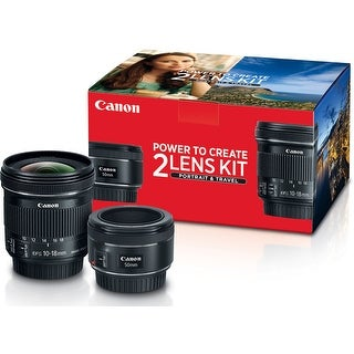 Canon 50mm f/1.8 and 10-18mm Portrait and Travel 2 Lens Kit - Black