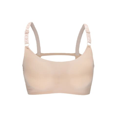 Women 2 Pack Ice Silk Padded Sexy Strappy Back Pullover Crop Top Bra