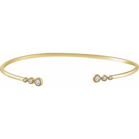 "14K Gold Diamond Cuff Bracelet, 7"" (1/4cttw)"