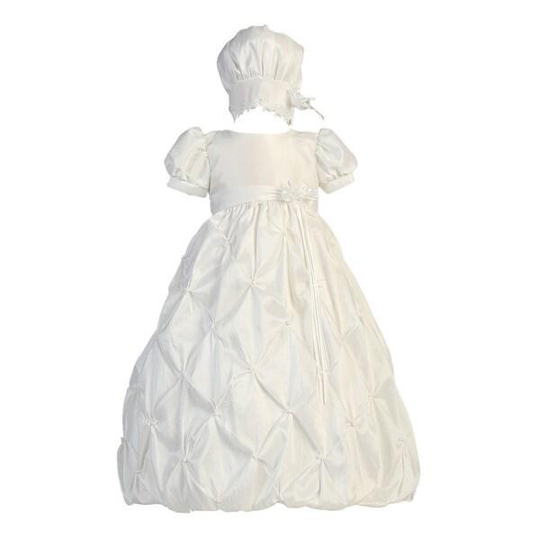 Baby Girls White Gathered Taffeta Dress Bonnet Baptism Set 0-18M
