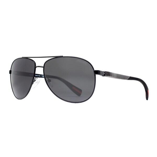 Prada Sport NETEX SPS 51O 1BO-1A1 Black/Gray Linea Rossa Aviator Sunglasses - Black - 62mm-14mm-135mm
