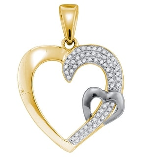 Twin Heart Pendant Two Tone 10K White-gold With Diamonds 0.16 Ctw By MidwestJewellery - White