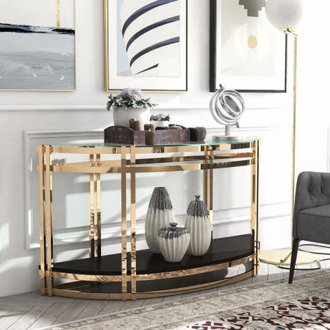 Furniture of America Miyo Contemporary Glass Top Sofa Table