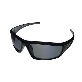 Levi Sunglass Mens Shiny Black Rectangle Plastic Wrap Smoke Lens LS 196 2 - Medium