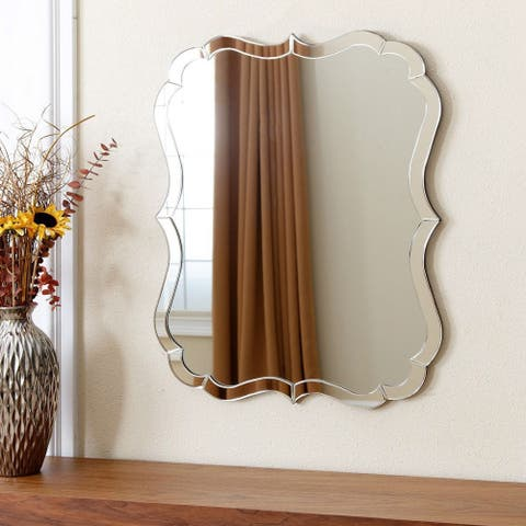 Venetian Style Curvy Vanity Wall Mirror in Silver Finish