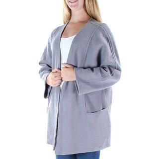 ALFANI $180 Womens New 1690 Gray Pocketed Open Long Sleeve Vest Top M B+B