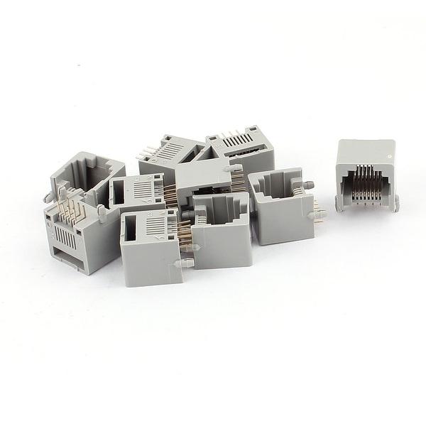 10pcs Gray Plastic RJ45 8P8C Modular PCB Mount Network Internet Jack Connector