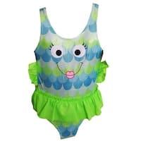 Starfish Swim Little Girls Green Blue Fish Face UPF 50+ One Piece Swimsuit