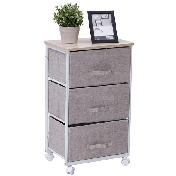 Shop Gymax Fabric 3 Drawer Storage Unit Cart Organizer