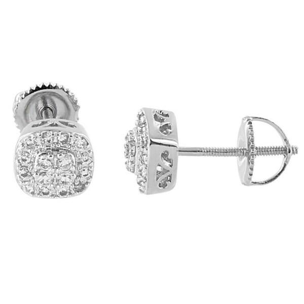 Cluster Design Earrings Hip Hop Silver Tone Lab Diamonds Screw Back Studs