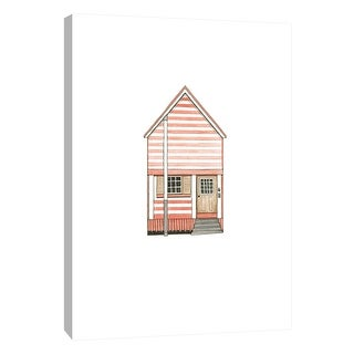 """PTM Images 9-105582  PTM Canvas Collection 10"""" x 8"""" - """"Little Striped Houses Pink"""" Giclee Houses Art Print on Canvas"""